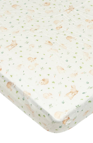 Muslin Crib Sheet- Bunny Meadow