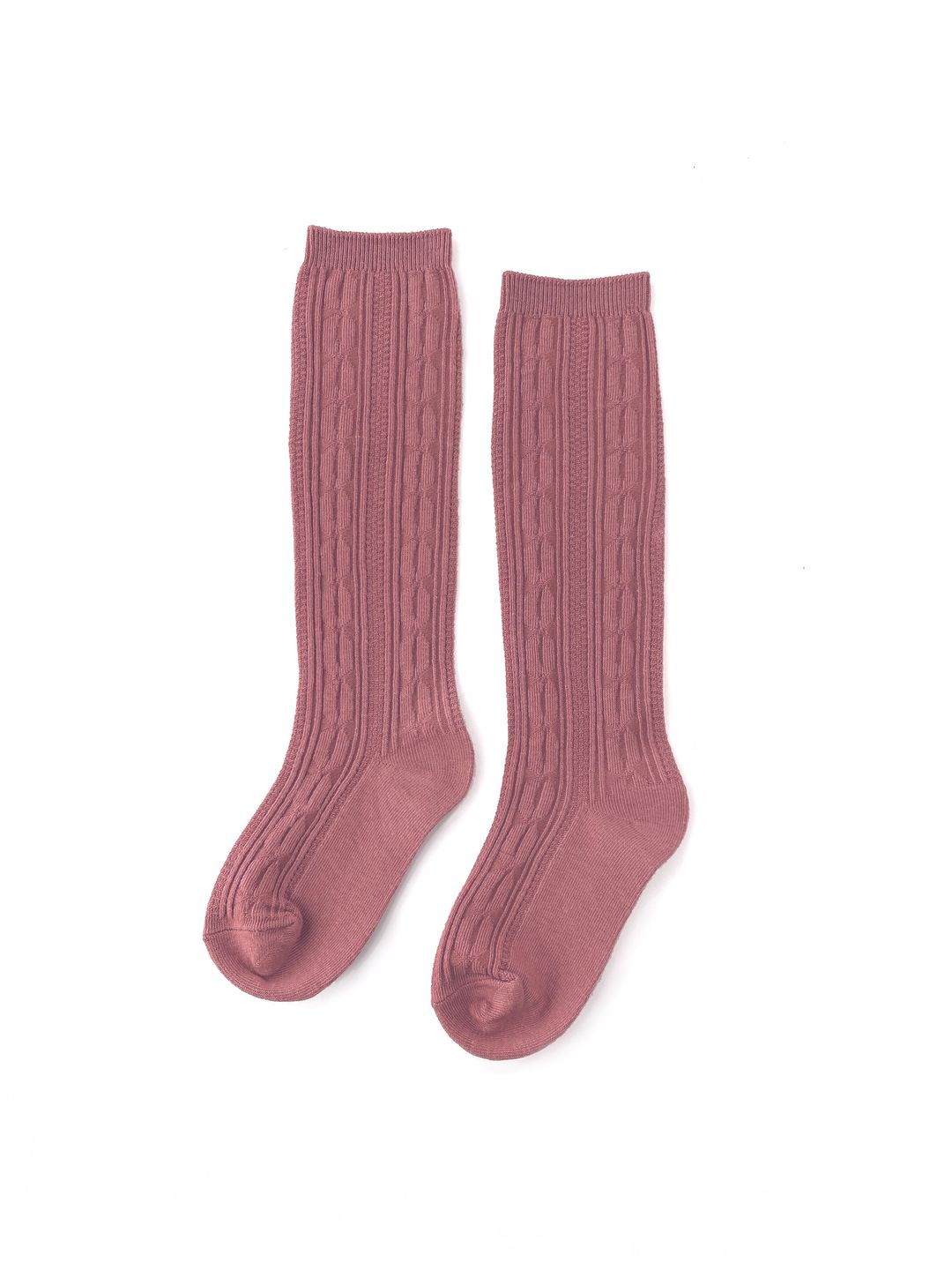 Mauve Cable Knit Knee High Socks
