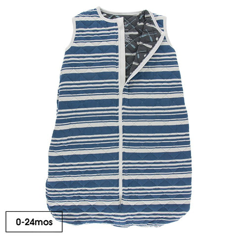 Print Quilted Sleeping Bag in Fishing Stripe/Stone Paddles and Canoe