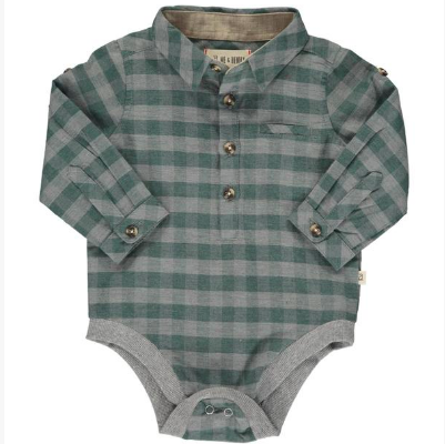 Green/grey plaid woven onesie