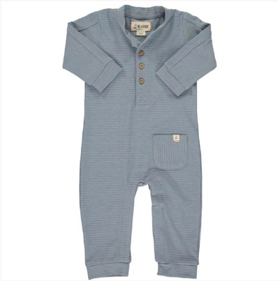 Blue/grey stripe jersey romper