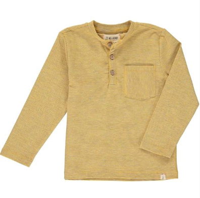 Yellow stripe henley tee
