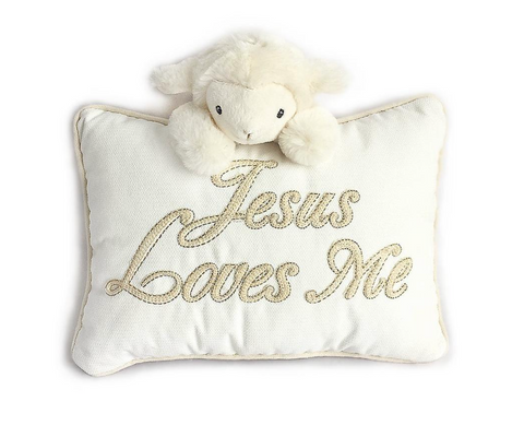 Jesus Loves Me Lamb Accent Pillow