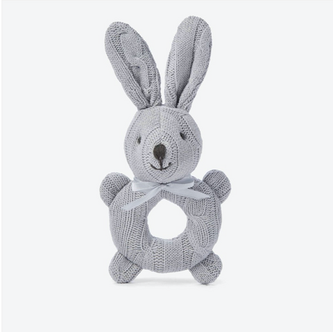 Cable Knit Bunny Baby Rattle