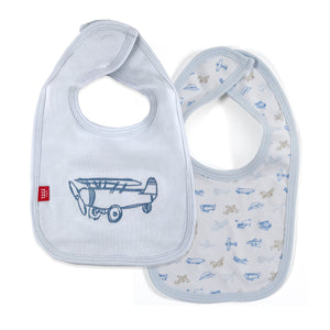 Airplanes Organic Cotton Magnetic Reversible Bib