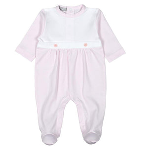 Pink Stripes Pima Bib Footie