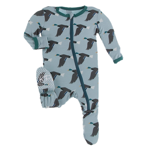 Print Footie with Zipper in Jade Mallard Duck