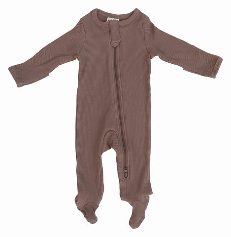 Plum Organic Cotton Ribbed Footed Zipper One-piece
