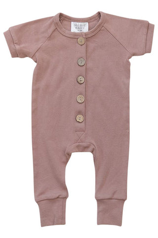 Blush Cotton Button Romper