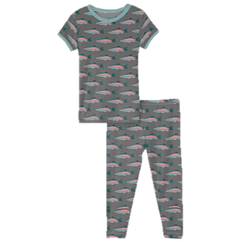 Print Short Sleeve Pajama Set in Stone Rainbow Trout