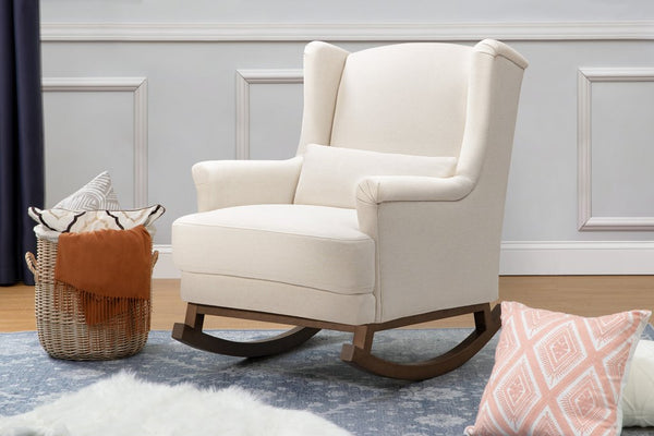Miranda Wingback Rocker in Performance Cream Eco-Weave