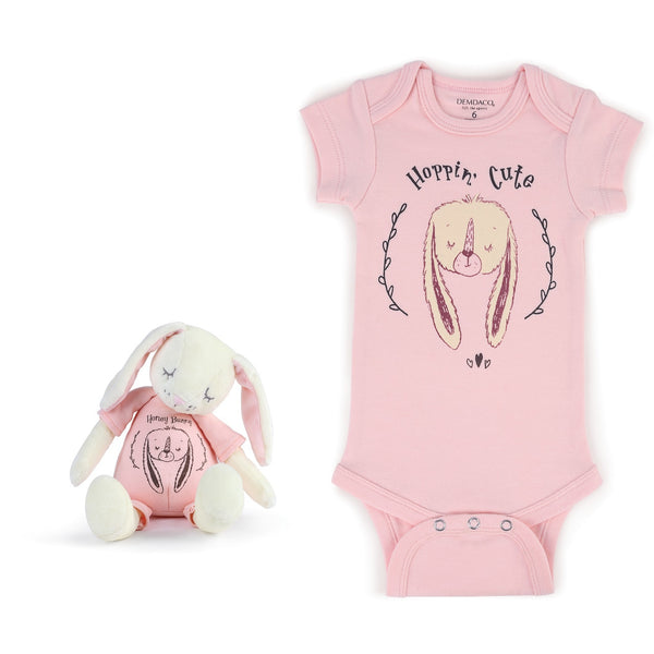 Hoppin' Cute Bunny Snuggle Buddy Onesie and Plush Toy Set