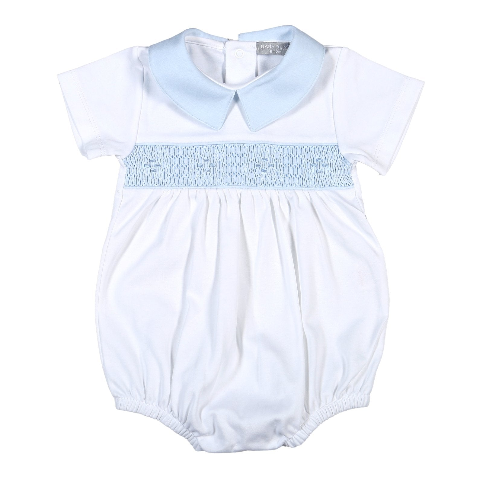Ted White and Blue Hand Smocked Pima Bubble