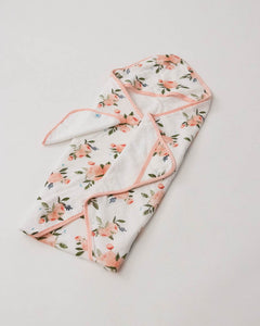 Cotton Hooded Towel & Wash Cloth- Watercolor Roses