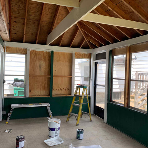 Sun room ceiling painted white beams in rafters rehab therapy Tom and Val Moody Reliv distributors