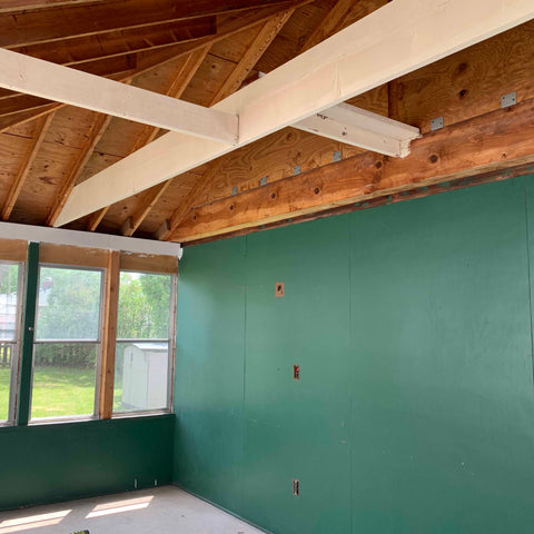 sun room ceiling rafters painted white beams rehab therapy Tom and Val Moody Reliv distributors