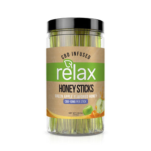 Relax CBD Infused Honey Sticks - Apple Flavor - 1000mg (100 Pack)