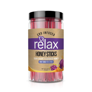 Relax CBD Infused Honey Sticks - Sour Grape Flavor - 1000mg (100 Pack)