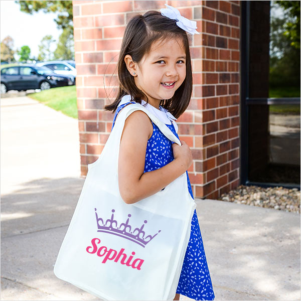 Crown personalized mini tote bag