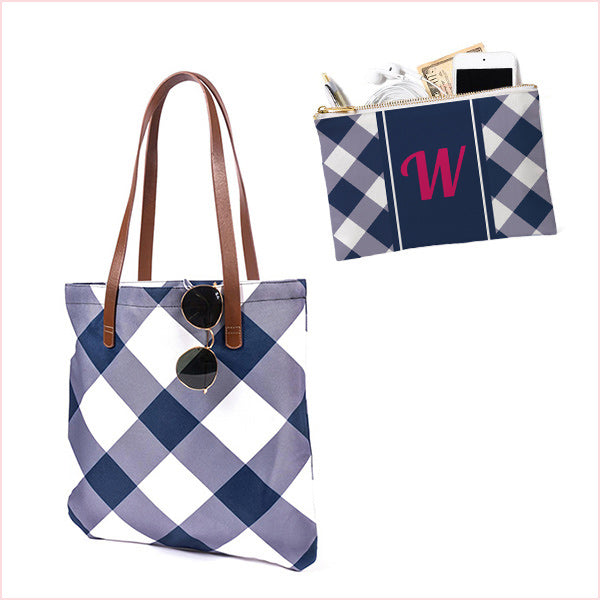 Bundle: Maddy and Accessory Pocket /  Blue Plaid