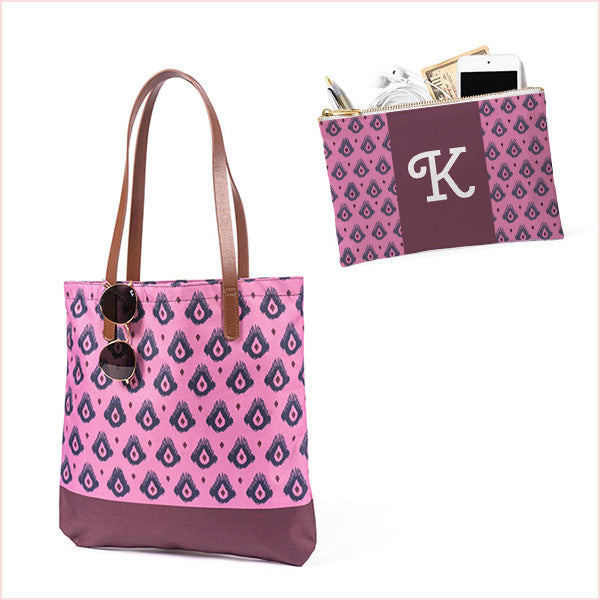 Bundle: Maddy and Accessory Pocket /  Plum Ikat