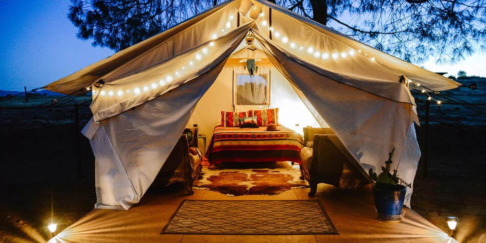 Glamping Tent at Night