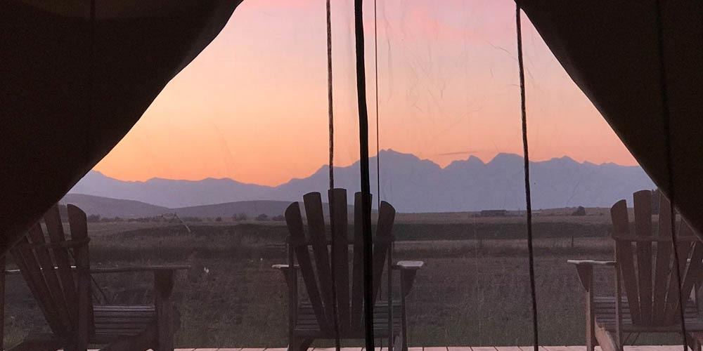 Canvas Glamping Tent Sunset