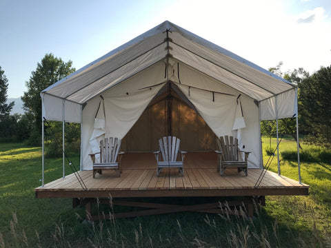 Canvas Tent - Wall Tent - Extended Fly - Platform Tent