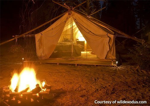 Glamping Tent by Campfire