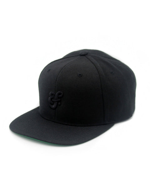 Efdot Snapback Hat (Black with Black Embroidery)