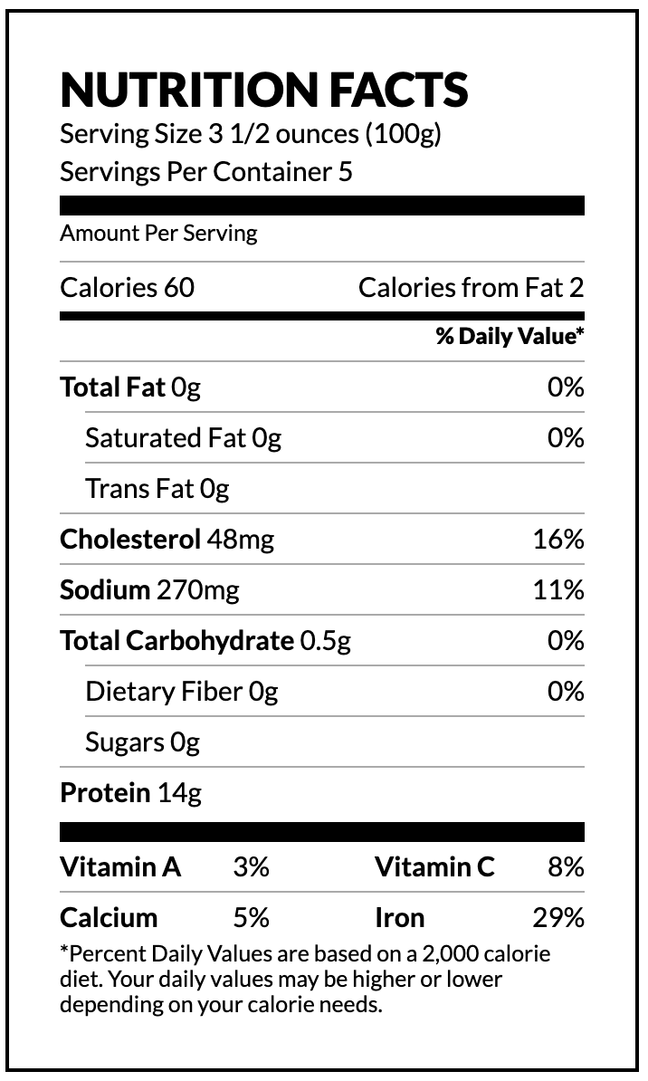 Whole Cleaned Octopus nutrition facts