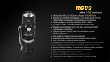Fenix RC09 16340 rechargeable flashlight - Bright Nite
