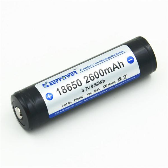 Keeppower 18650 protected 2600mAh rechargeable battery P1826J - Bright Nite