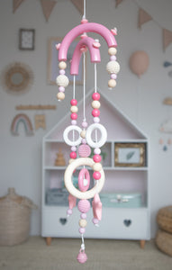 Cot Mobile (Big) - Wood Colour, Pink, Rose