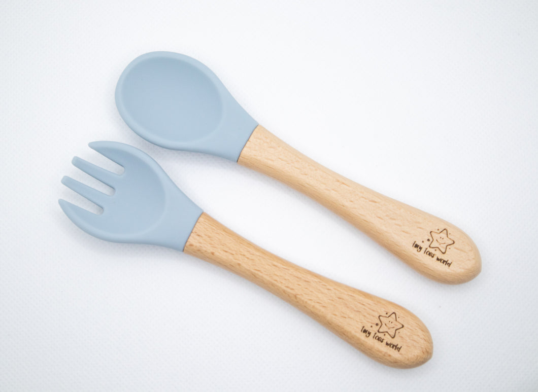 Silicone Wood Spoon and Fork Set - Dusty Blue