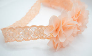 Fancy Flower Headband - Apricot