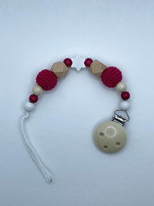 Pacifier Chain (Wood Style) - Wood Colour, Pink, White