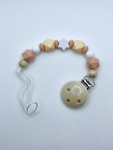 Pacifier Chain (Wood Style) - Wood Colour, Light Yellow, Light Orange, White