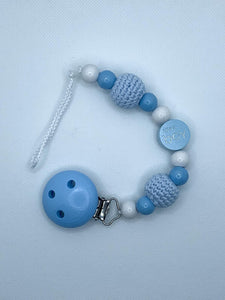 Pacifier Chain (Babyshower) - White, Light Blue