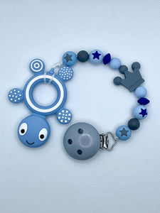 Teether Chain - Light Blue, Grey, Dark Blue