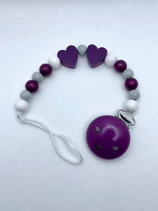 Pacifier Chain - Purple, Grey, White