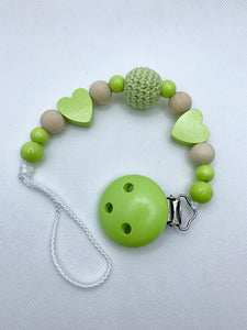 Pacifier Chain - Light Green, Wood Colour