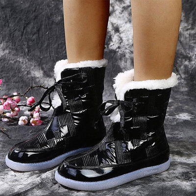 Women Winter Fur Lining Glossy Boots