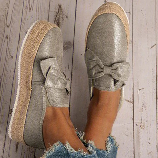 Women Casual Bowknot Slip On Shoes