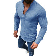 Men's Linen Casual Long-Sleeved Solid Color Stand-up Collar T-shirt