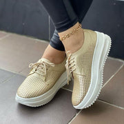 Women's casual laser breathable lace-up platform sneakers
