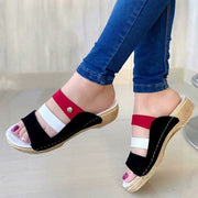 Women's Comfy Wedge Color Block Slippers
