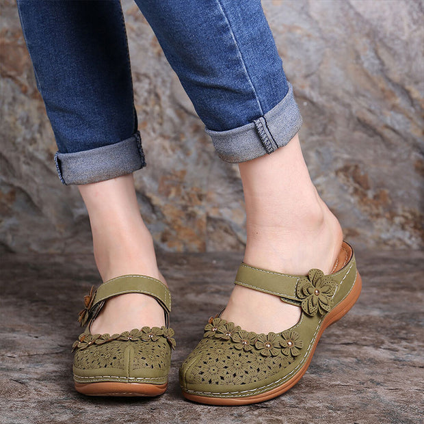 Flower Vintage Closed Toe Adjustable Hook Loop Wedges Sandals