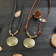 Vintage Disc Pure Leather Necklace