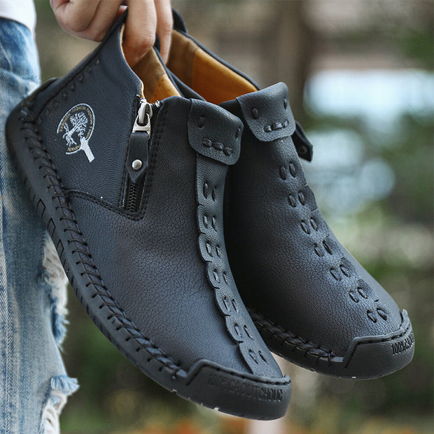 Men Hand Stitching Leather Non Slip Side Zipper Casual Boots